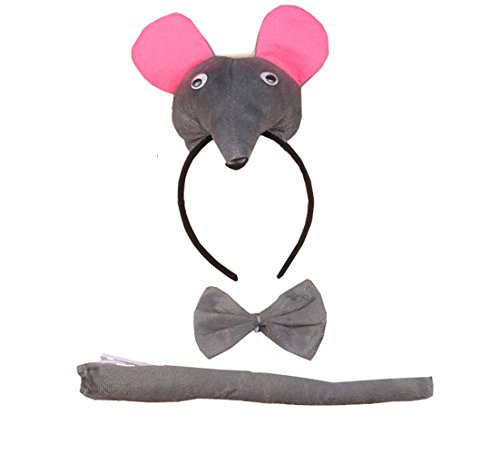 3PCS Animals 3D Cute Headband Party Costume, Ear with Tail Tie (Rat)