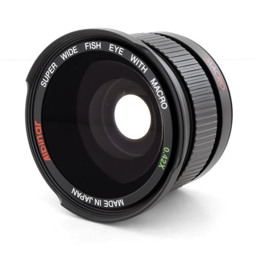 Albinar 0.42x 58mm Titanium Super Wide Angle Fisheye Lens with Macro - Black - Made in Japan (58 Fisheye)