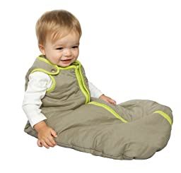 baby deedee Sleep Nest Baby Sleeping Bag, Wearable Blanket Sleeper, Khaki/Lime Green, Medium