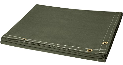 Steiner 301-6X8 12-Ounce Flame Retardant Opaque Olive Green Canvas Duck Welding Curtain, Olive Green, 6' x 8' (Retardant Canvas Flame)