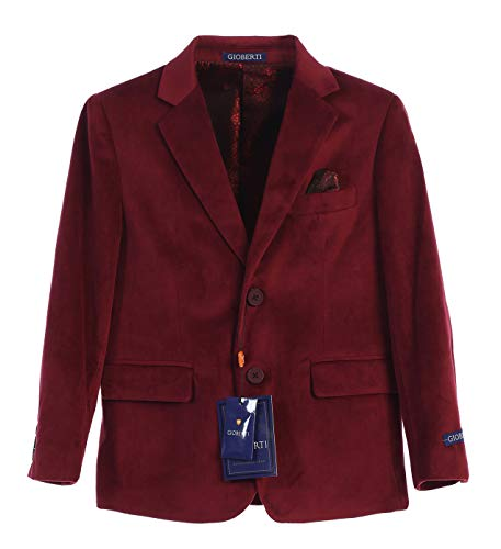 Gioberti Big Boys Formal Velvet Blazer with Solid Buttons, Burgundy B, Size 12]()