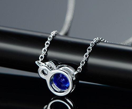 2a8255efbb350e Amazon.com: Solid 18k White gold Pendant,0.03ct SI-H Diamond pendant for  necklace,0.5ct round Natural Blue Sapphire,Bezel set: Handmade