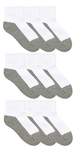 Jefferies Socks Boys Girls School Uniform Seamless Half Cushion Quarter Sport Socks 9 Pair Pack