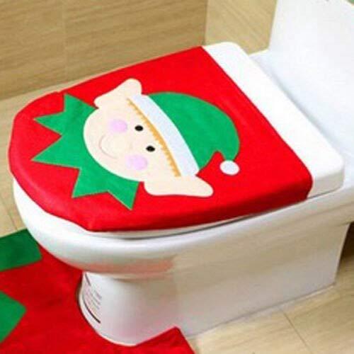 (Christmas Set - Cute Santa Toilet Seat Cover Christmas Home Decoration Fancy Children Festival Bathroom Product - Adult Oblong Fold Funny Jiahonghome Rainbow Blue Public Child Pads Despenser Ho )