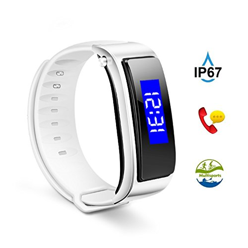 (The perseids Fitness Tracker, Activity Tracker Watch, IP67 Water Resistant Smart Bracelet with Bluetooth Headset, Step Counter, Calories Counter Pedomenter Watch for iOS & Android in White)