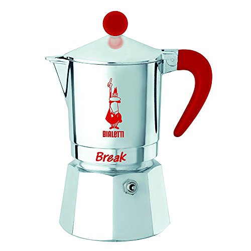 Bialetti 6373 Break universal Espresso Maker, Silver/Red