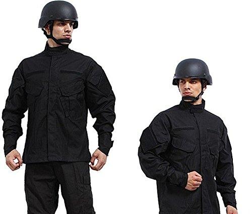 Camouflage Military Battle Dress Uniform Set, Coat + Pant Camo Paintball Hunting Clothing, Tactical Military Combat Cargo BDU Suit (Black, S)