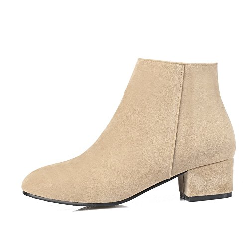 ABL10191 BalaMasa Heels Dress Resistant Boots Chunky Womens Suede Beige Slip qpqHx8grw
