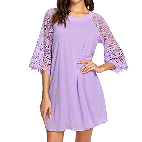 Embroidered Baby Doll Dress - Clearance Sale! Wintialy Women Solid Casual Crewneck Half Sleeve Lace Stitch Autumn Chiffon Tunic Dress