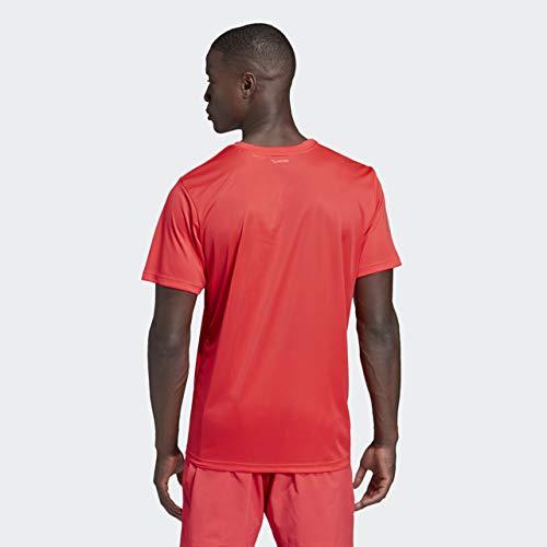 adidas Men's Club 3-Stripes Tee, Shock Red/Light Granite, X-Small by adidas (Image #2)