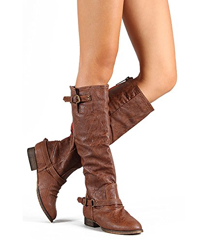Just Sheepskin Classic Short (Breckelles Womens Outlaw-81 Western Riding Esquarian Over the Knee TanBoot (6))