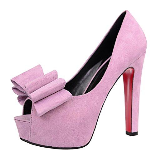 Violet Femmes Sandales Peep Toe Platform Sweet Bowknot HooH 01vd6q6