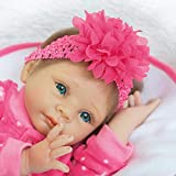 Feamos Reborn Dolls Silicone Full Body Smile Girl with Pink Flower Headband Soft Vinyl Doll for Baby...