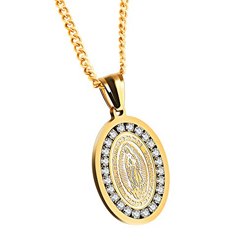 JC Fashion Jewelry Unisex Stainless Steel Cubic Zirconia Guadalupe Miraculous Medal Virgin Mary Pendant Necklace (Golden)