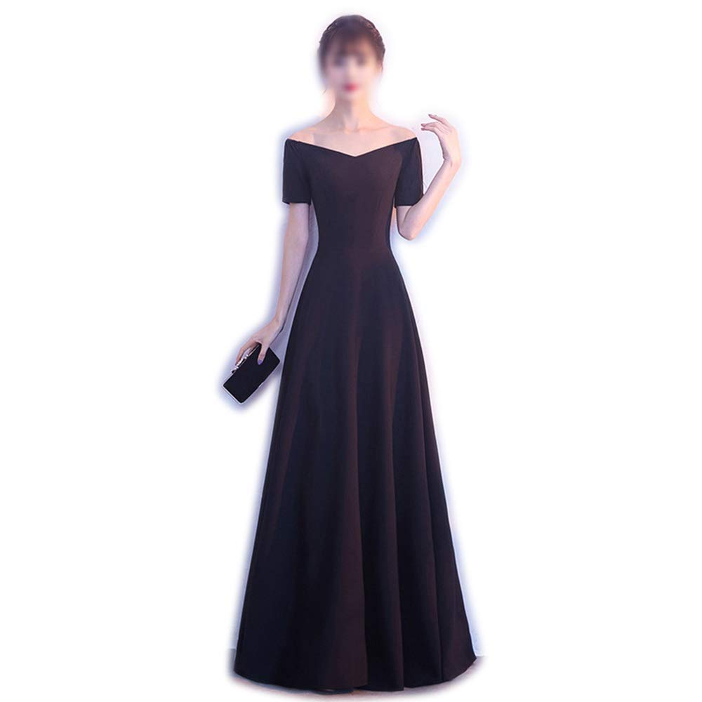 C Sububblepper Black Evening Dress One Shoulder Sexy Slim Long Aline Party Evening Dress for Womens Formal Occassion (color   C, Size   L)