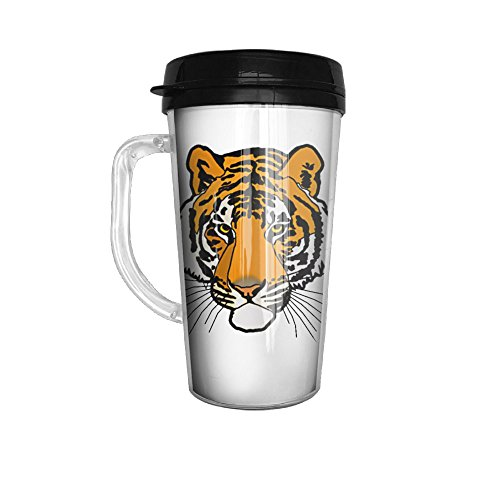 Gray Tiger Face Stainless Steel Travel Mugs Tumblers 16 Oz With Handle