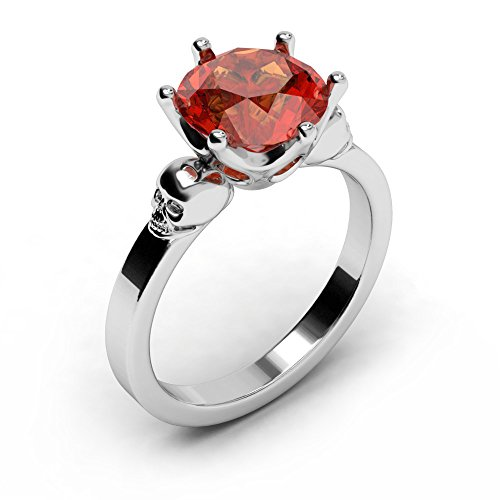 EVBEA Ruby Ring Gothic Unique Bling Red Diamond Skull Engagement Ring (7) (Red Skull Costume)