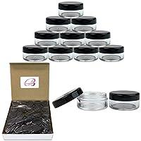 Beauticom 5G /5ML Frascos transparentes redondos con tapas negras para píldoras, medicamentos, pomadas y otros productos de belleza y salud: sin BPA (cantidad: 50 piezas)