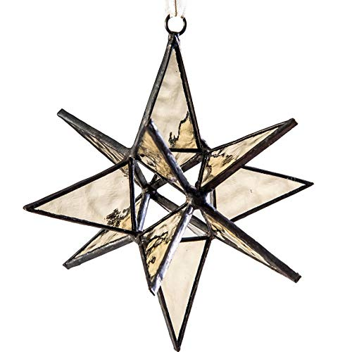 (J Devlin ORN 251 Glass Moravian Star Christmas Ornament Sun Catcher Dimensional)