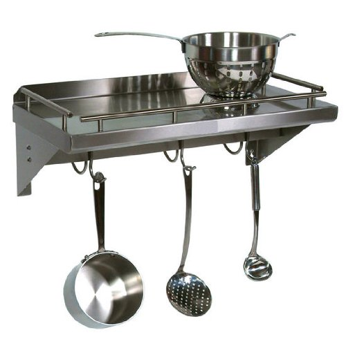 Cucina Americana Mensola Grande Shelf with Wall Mounted Pot Rack