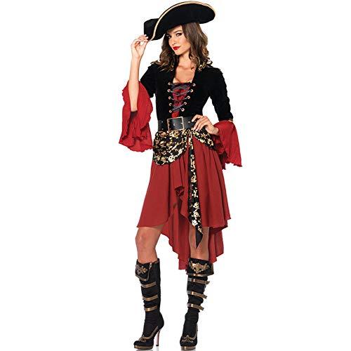 Cosplay Costume, Pirates of The Caribbean, Pirate Bride Costume, Women's Earl Costume, Halloween Fun Uniform,L]()