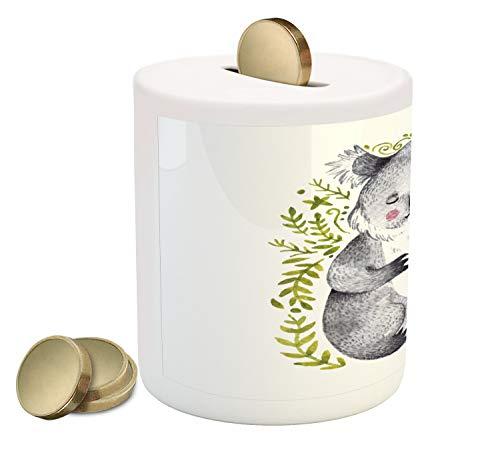 - Lunarable Koala Piggy Bank, Pencil Drawn Animal with Leaves Motifs, Printed Ceramic Coin Bank Money Box for Cash Saving, Purpleblue Pale Olive Green Charcoal Grey Pale Fuchsia