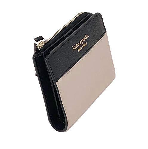 Kate Spade New York Cameron L-Zip Bifold Wallet Warm Beige Black, Small