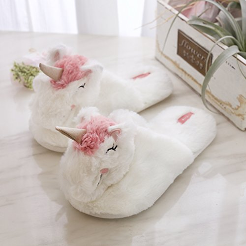 Home Bunny Shoes Cute Girls Slippers Plush Unicorn Women Fluffy Cozy Animal Indoor Outdoor 07Rq87