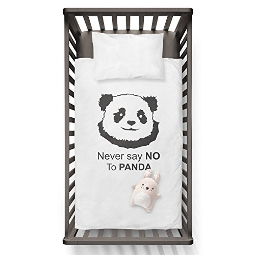 Never say NO to PANDA Funny Humor Hip Baby Duvet /Pillow set,Toddler Duvet,Oeko-Tex,Personalized duvet and pillow,Oraganic,gift by Jobhome