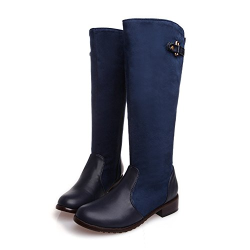 Fashion Heel Womens Low Heel Round Toe Stretch Leather Knee High Boots (10, blue)