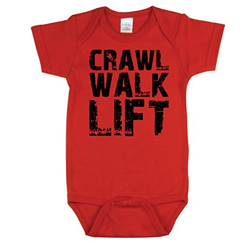 Nursery Decals and More Crawl Walk Lift, Funny Baby Bodysuit, Red 6-12 - Lift Decal