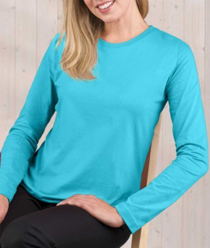 LAT Apparel Ladies Long Sleeve 100% Cotton Jersey Tee [Large] Turquoise Scoop Neck (Turquoise Scoop)