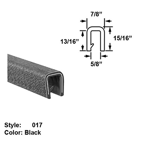 Heavy Duty Vinyl Plastic U-Channel Push-On Trim, Style 017 - Ht. 15/16'' x Wd. 7/8'' - Black - 25 ft long by Gordon Glass Co.