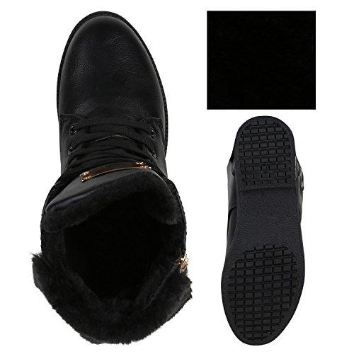Stiefelparadies Damen Schnürstiefeletten Übergrößen Warm Gefütterte Stiefel Worker Boots Profilsohle Stiefeletten Wildleder-Optik Schuhe Flandell Schwarz Zipper