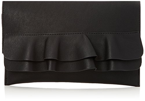 Womens Black New Flat Look Clutch Frill Black New Look tfq7wHt