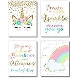 Brooke & Vine Unicorn Rainbow Girls Room Wall Decor Art Prints - (UNFRAMED 8 x 10) - Tween Posters for Home, Bedroom, Dorm, Office, Cubicle, Desk (Unicorn Rainbow)