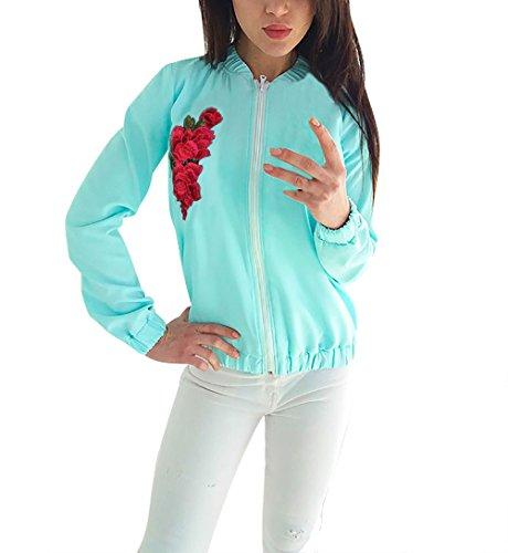Casual Fiori Elegante Outerwear Con Bomber Baseball Etno Manica Et Giacche Ricamo Zip Sportiva Giubbotto Vintage Giacca Blu Ragazza Abbigliamento Lunga Moda Donna Autunno Inverno Style Chic 6qx8Cwg