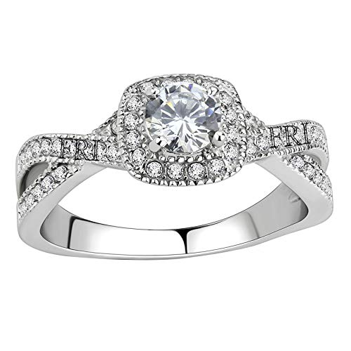 0.5 Ct Solitaire Ring - FlameReflection Stainless Steel Jewelry Womens Halo Cubic Zirconia CZ Infinity Love Solitaire Promise Eternity Ring Lady Engagement Wedding Anniversary Band Size 5.5