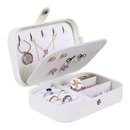 misaya Jewelry Box for Women Doubel Layer Travel Jewelry Organizer for Necklace Earring Rings Sparkle Jewelry Holder Case, Sparkle Beige White (Cases Jewlery)