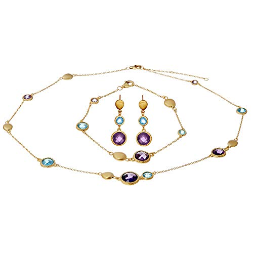 Silverly Women's Brushed Gold Plated .925 Sterling Silver Blue Purple Gemstone Full Jewellery Set