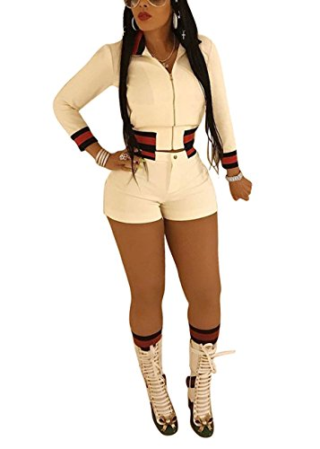 2 Club Jacket (Womens Casual Long Sleeve 2 Piece Set Outfits Jacket Shorts Suit M White)