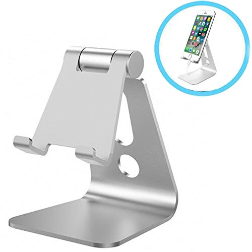 Cell Phone Stand, Walway Universal Aluminum Alloy Multi-Angle 270 Degree Rotatable Desktop Cradle Holder for All Mobile Phones and Tablets (Silver)