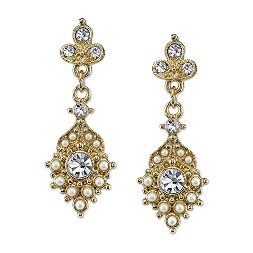Downton Abbey Boxed Gold-Tone Pearl Crystal Drop Earrings