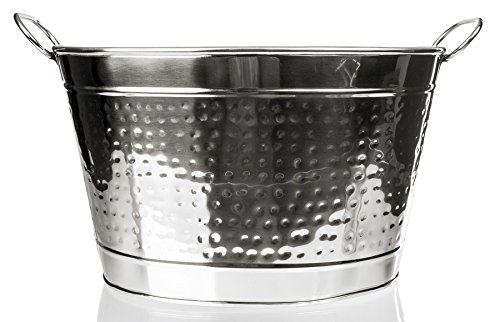 Sleek Stainless Steel Beverage Tub Hammered Large Ice