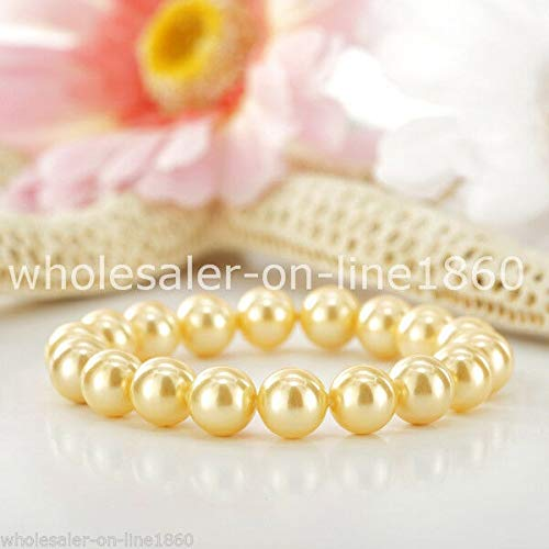 Fricgore, Handmade Jewelry, 10mm Round Yellow South Sea Shell Pearl Beads Stretchy Bracelet AAA+
