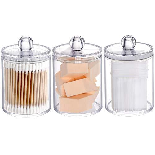 Tbestmax 3 Pack Plastic Cotton Swab Ball Pad Holder, 10 Oz Qtip Jar Clear Makeup Organizer, Bathroom Containers…