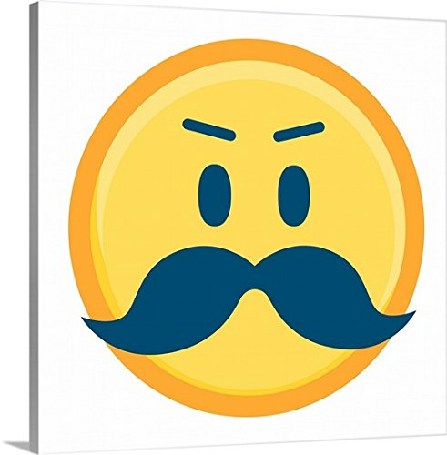 Canvas Wall Art Print Mustache Emoji