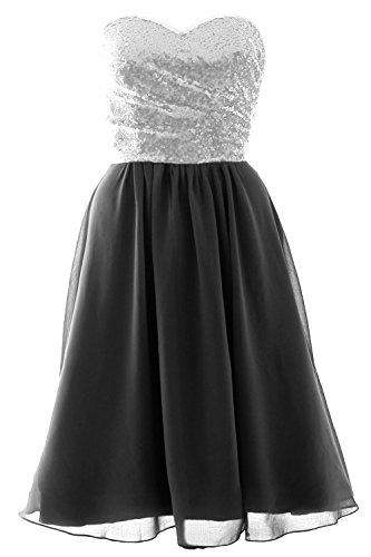 Sequin Strapless Elegant Chiffon Short Formal Black Gown Dress MACloth Bridesmaid Silver 7SACxqSw
