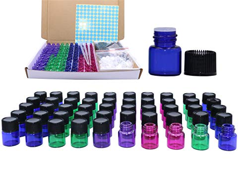 1ml Glass Vials,100 Packs Essential Oil Bottles 1/4 Dram Mini Multi Color Aromatherapy Sample Bottles Perfume Vials with Black Screw Cap and Orifice Reducer,Sticker&Dropper Pipette - Oil Perfume Sample Vial