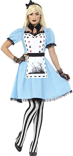 Ladies Sexy Dark Gothic Alice Halloween Horror Fairy Tale TV Book Film Fancy Dress Costume Outfit (UK 20-22) ()